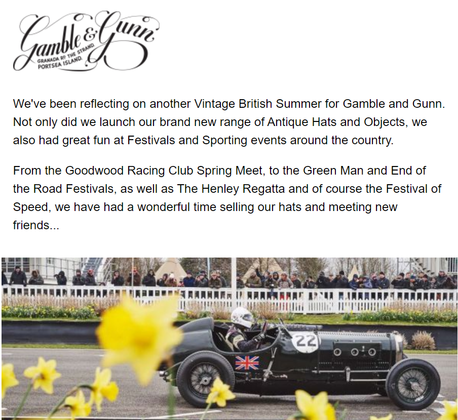 Image of Gamble and Gunn email newsletter